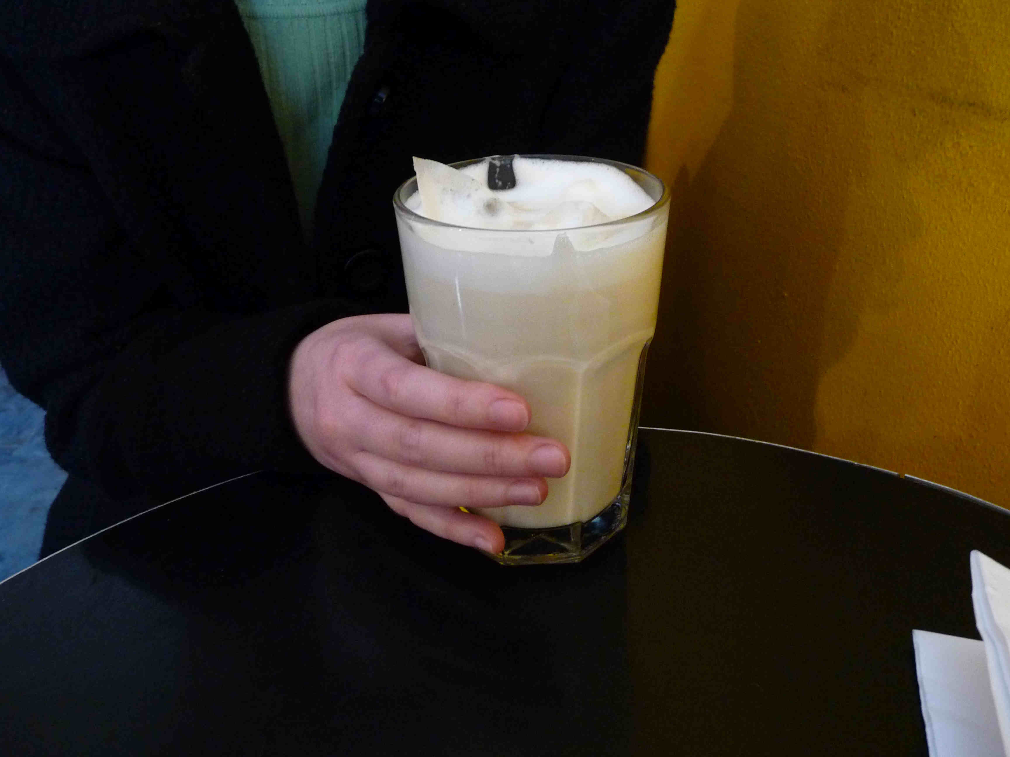 The Chai latte; notice the teabags steeping in the milk.