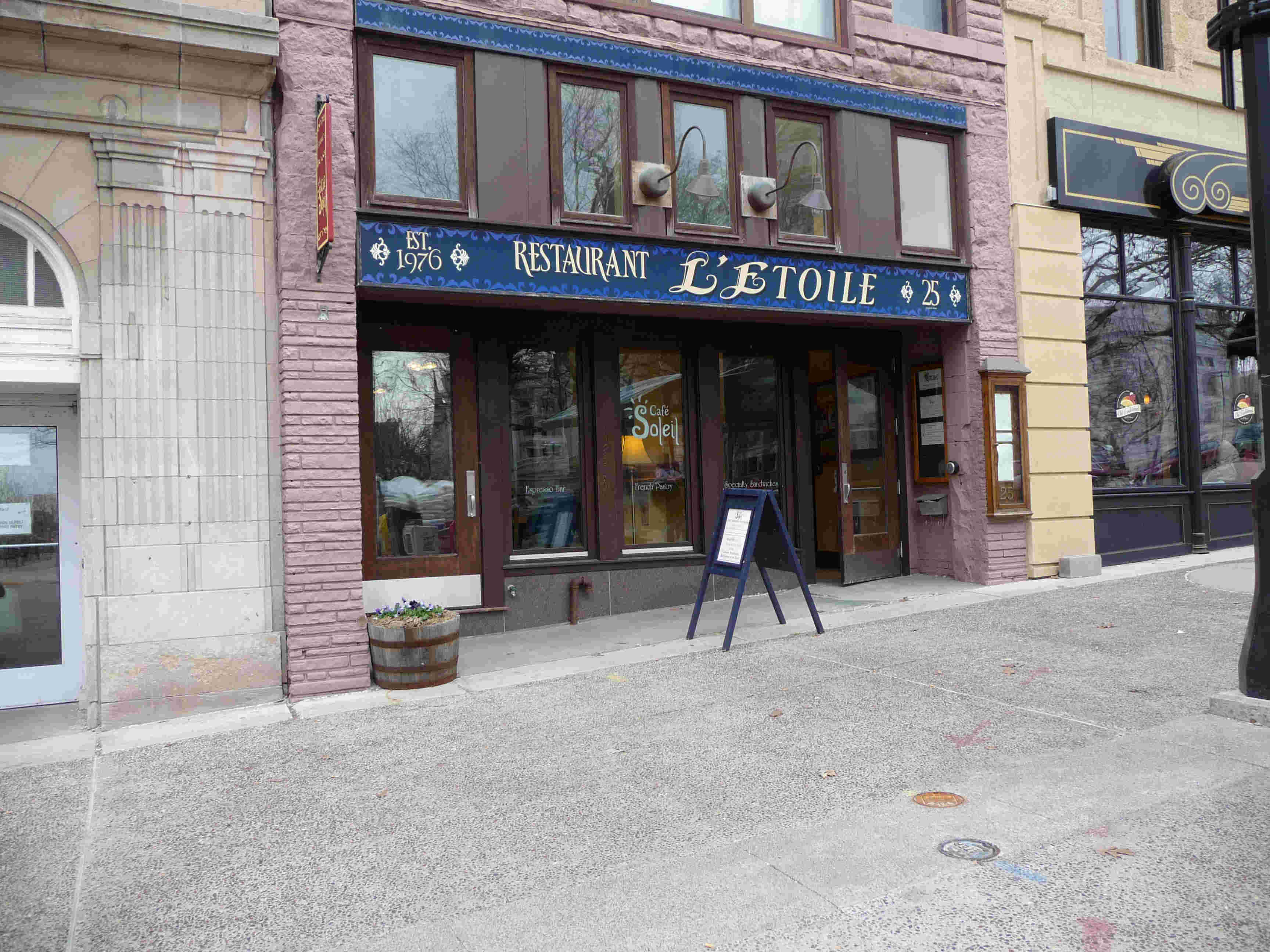 Cafe Soleil is on the ground level of L'Etoile Restaurant.